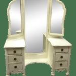 Depression Era Tri Fold Mirrored Vanity Dresser Painted Walnut Wood Vintage White Chairish