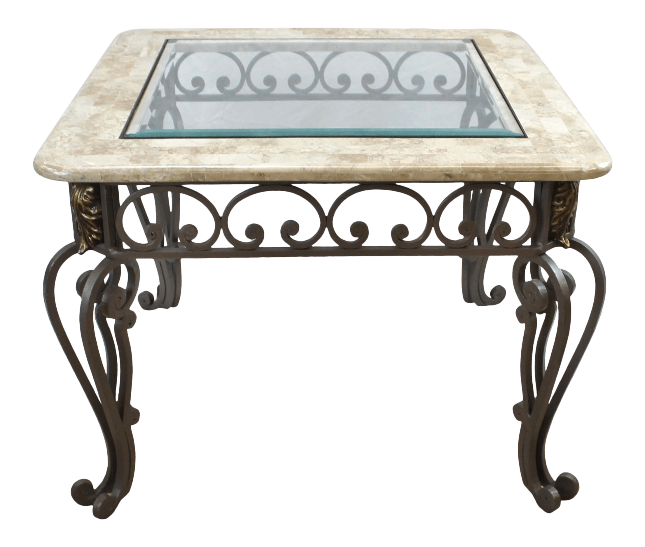 vintage marble and glass top wrought iron coffee table