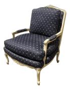 Vintage French Country Black Floral Accent Chair By Baker Furniture Co Chairish