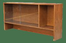 Walnut Bookshelf With Sliding Glass Doors