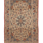 1960s Traditional Isfahan Tan And Red Wool Silk Persian Rug