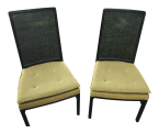 Mid Century Modern Ebonized Wood And Cane Back Dining Chairs A Pair Chairish
