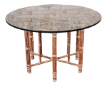 Mcguire Organic Modern Bamboo Rattan And Leather Glass Top Dining Table Chairish