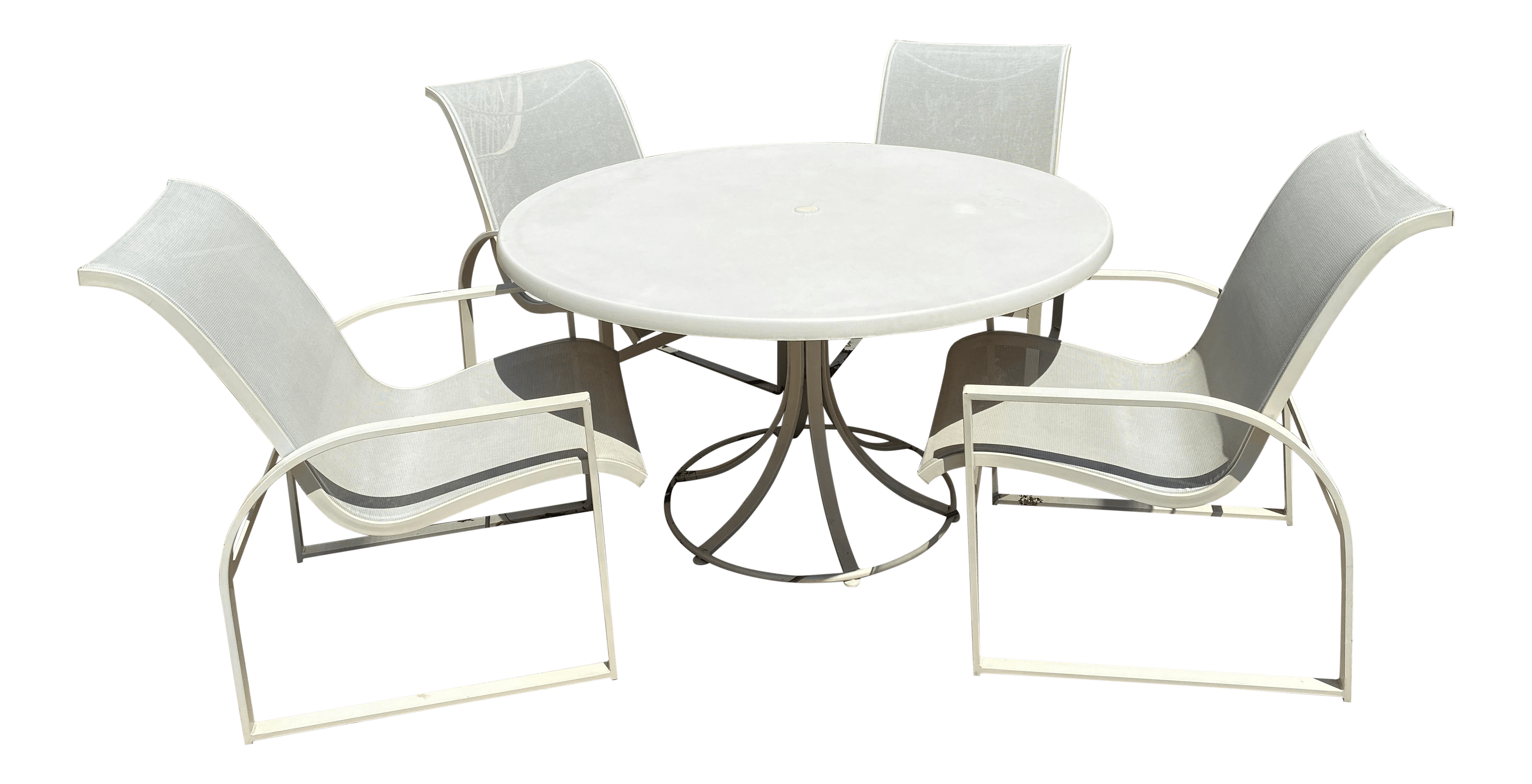 mid century modern woodard margarita patio dining set table 4 curved chairs set of 5