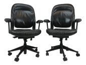 Late 20th Century Vintage Herman Miller Black Leather Office Chairs A Pair