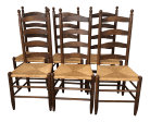 Vintage Ladder Back Rush Seat Dining Chairs Set Of 6 Chairish