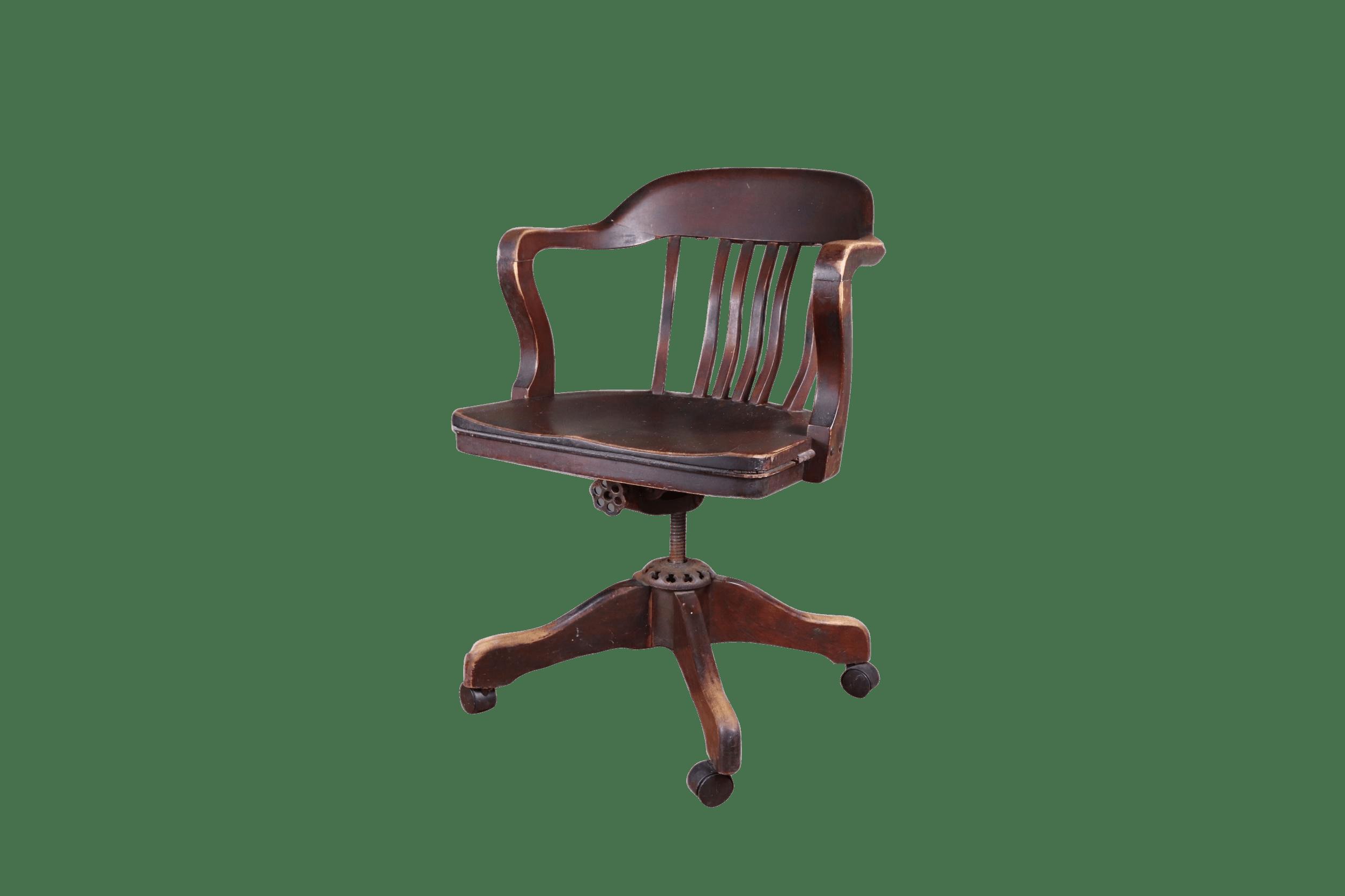 1930s Vintage Milwaukee Chair Company Mahogany Swivel Banker S Chair