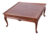 Baker Furniture Queen Anne Walnut And Burl Wood Large Square Coffee Table Newly Refinished Chairish