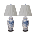 Blue And White Porcelain Lamps Pleated Shades A Pair Chairish