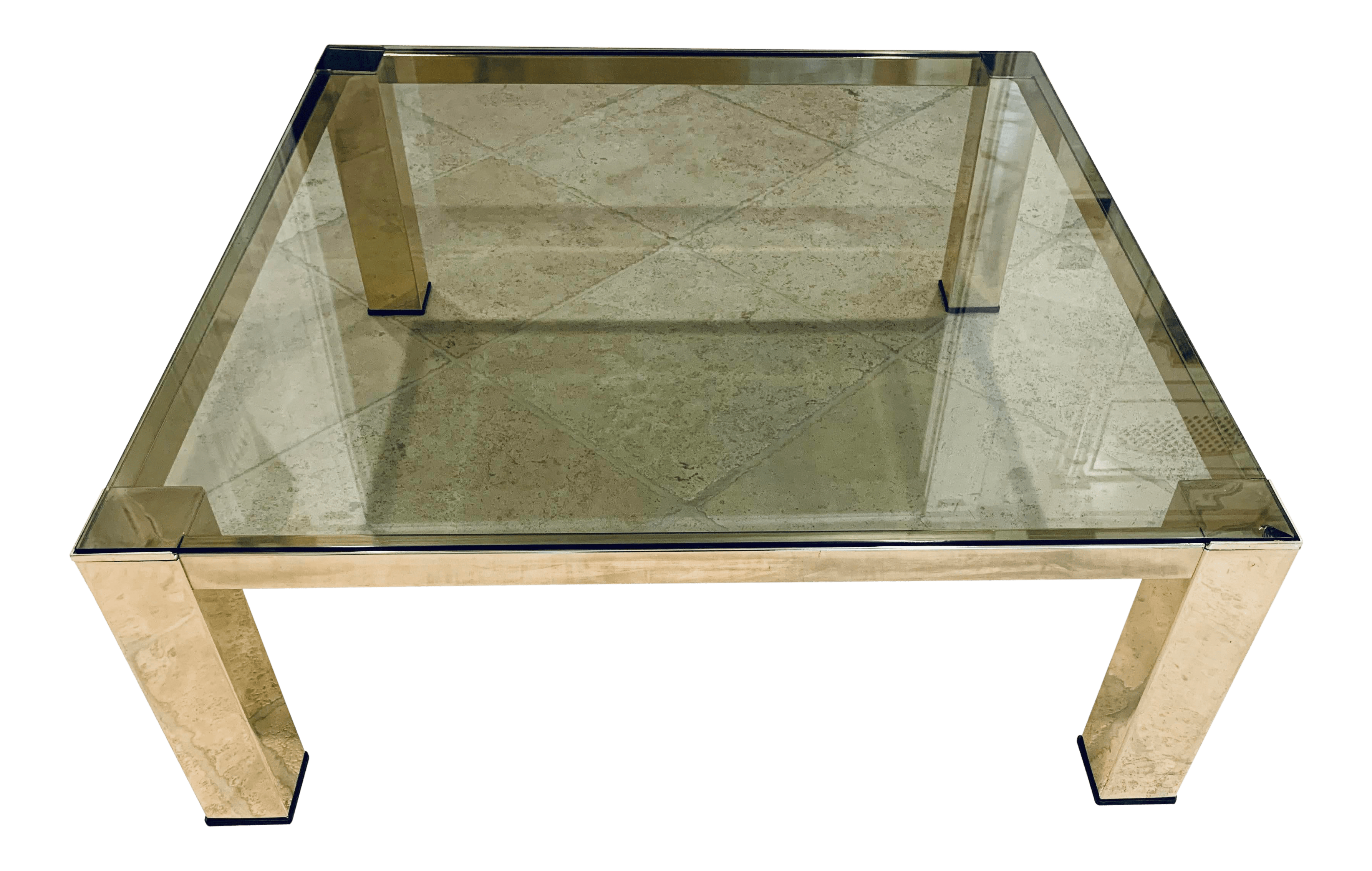 mid century modern italian brass and glass low coffee table