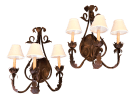 Vintage French Country Bronze 3 Candle Wall Sconces With White Linen Shades A Pair Chairish