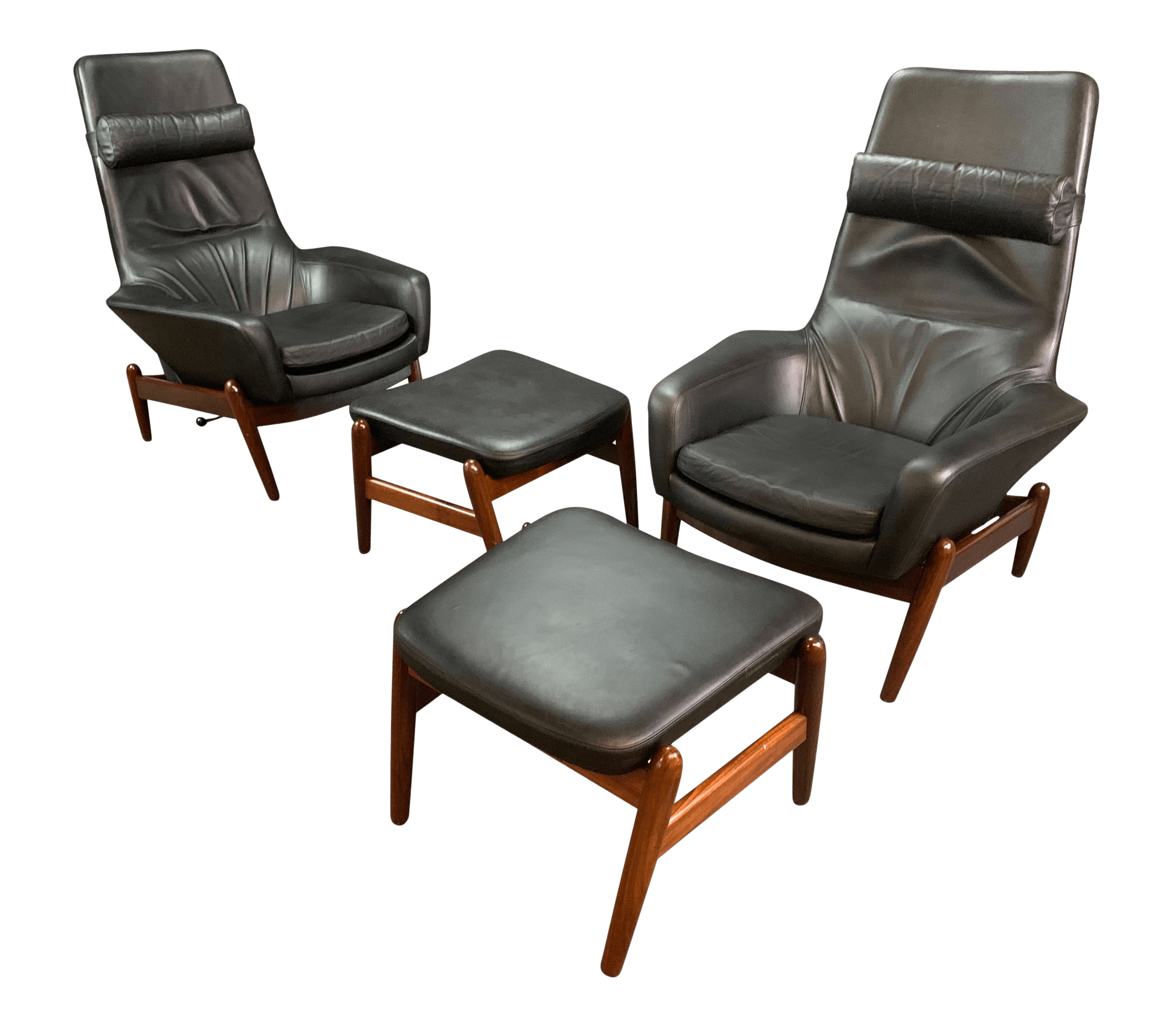 Pair Of Vintage Danish Mid Century Modern Recliners Lounge Chairs Ottomans Model Pd30 In Afromasia And Leather By Kofod Larsen Chairish