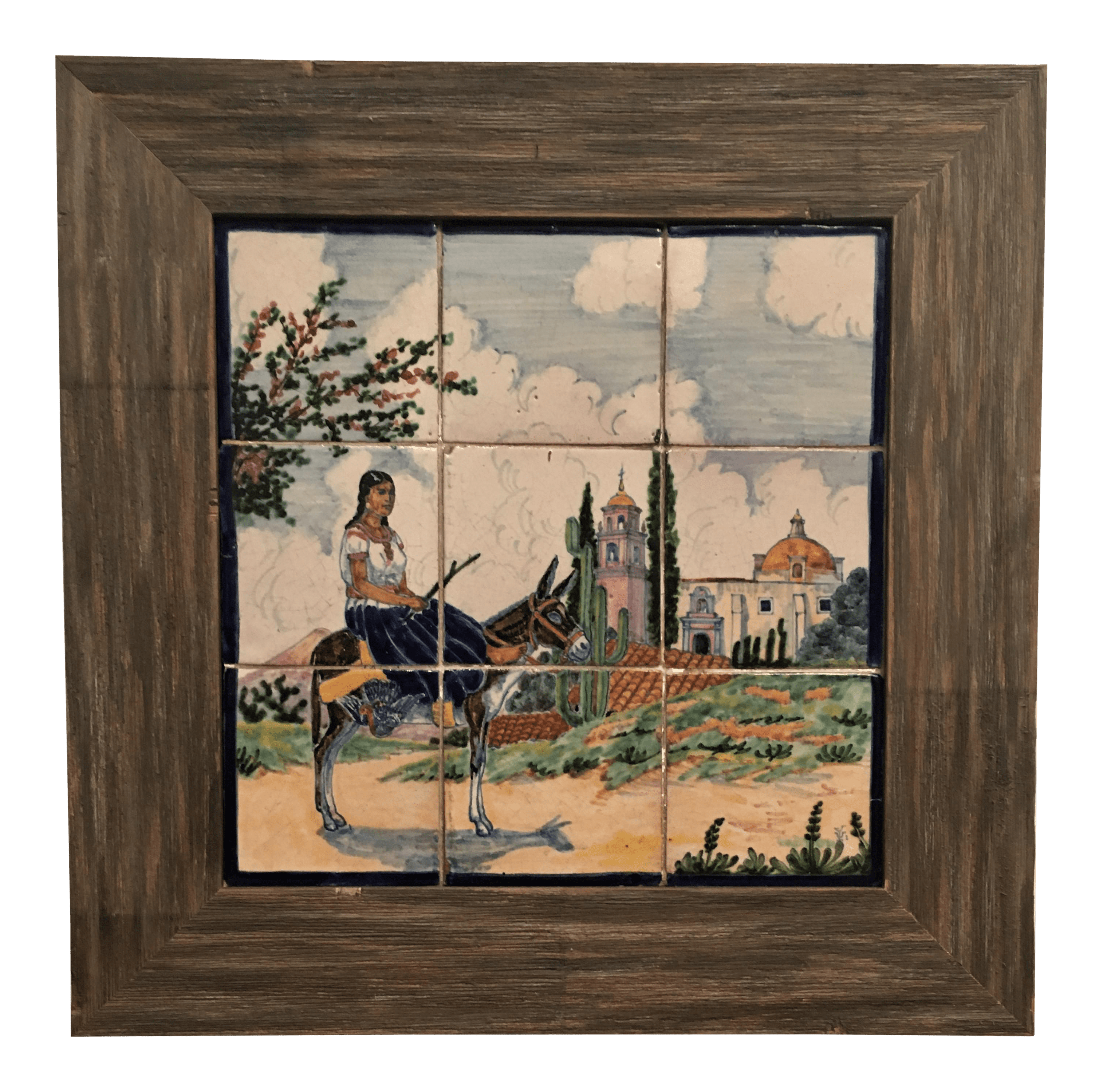 vintage mexican ceramic pottery tile mural uriarte