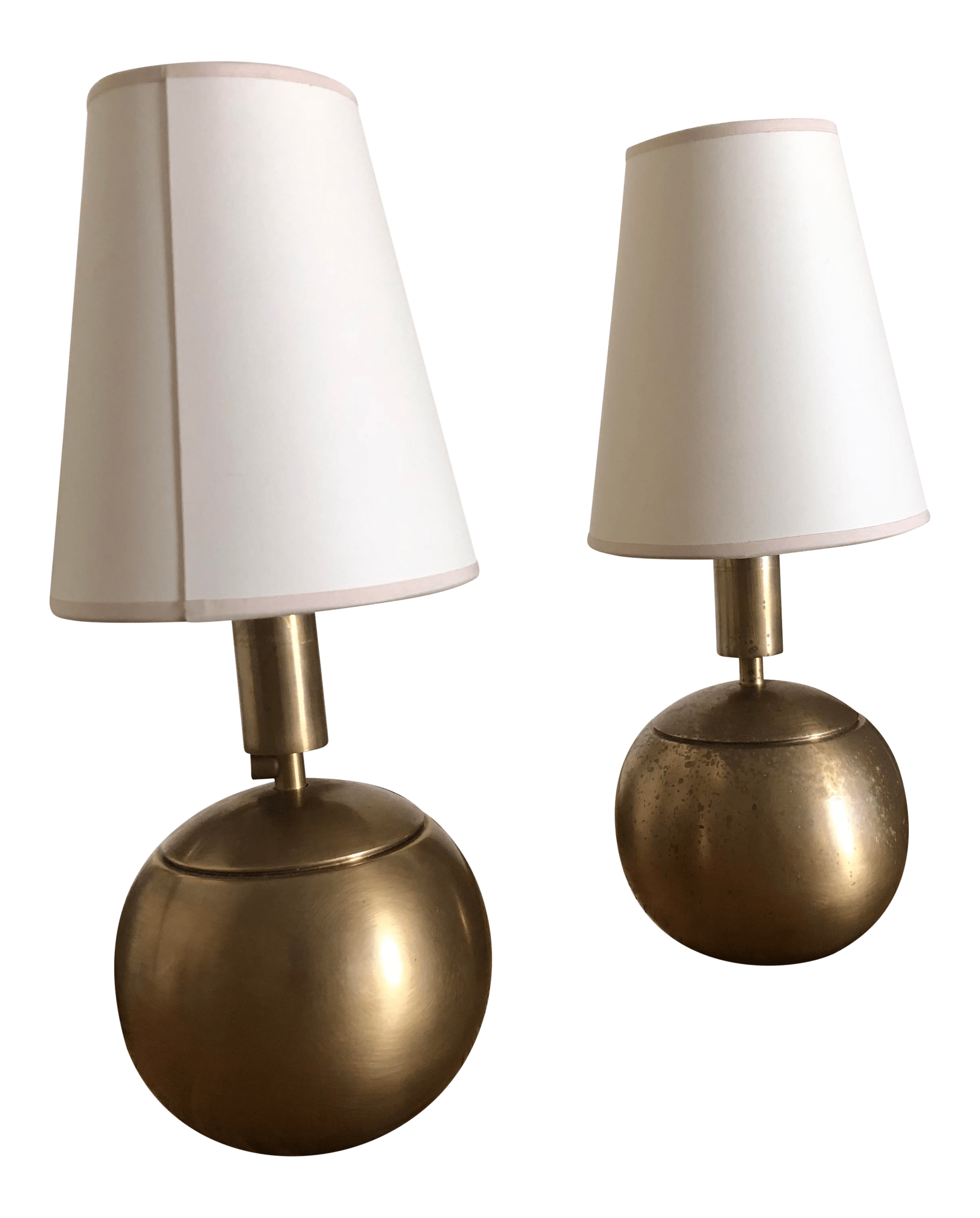thomas o brien for circa lighting tiny terri round accent lamps in antique brass a pair