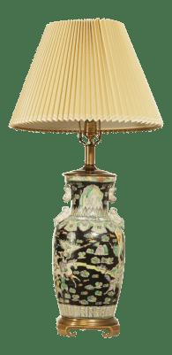 Remington Asian Pottery Brass Base Table Lamp Chairish