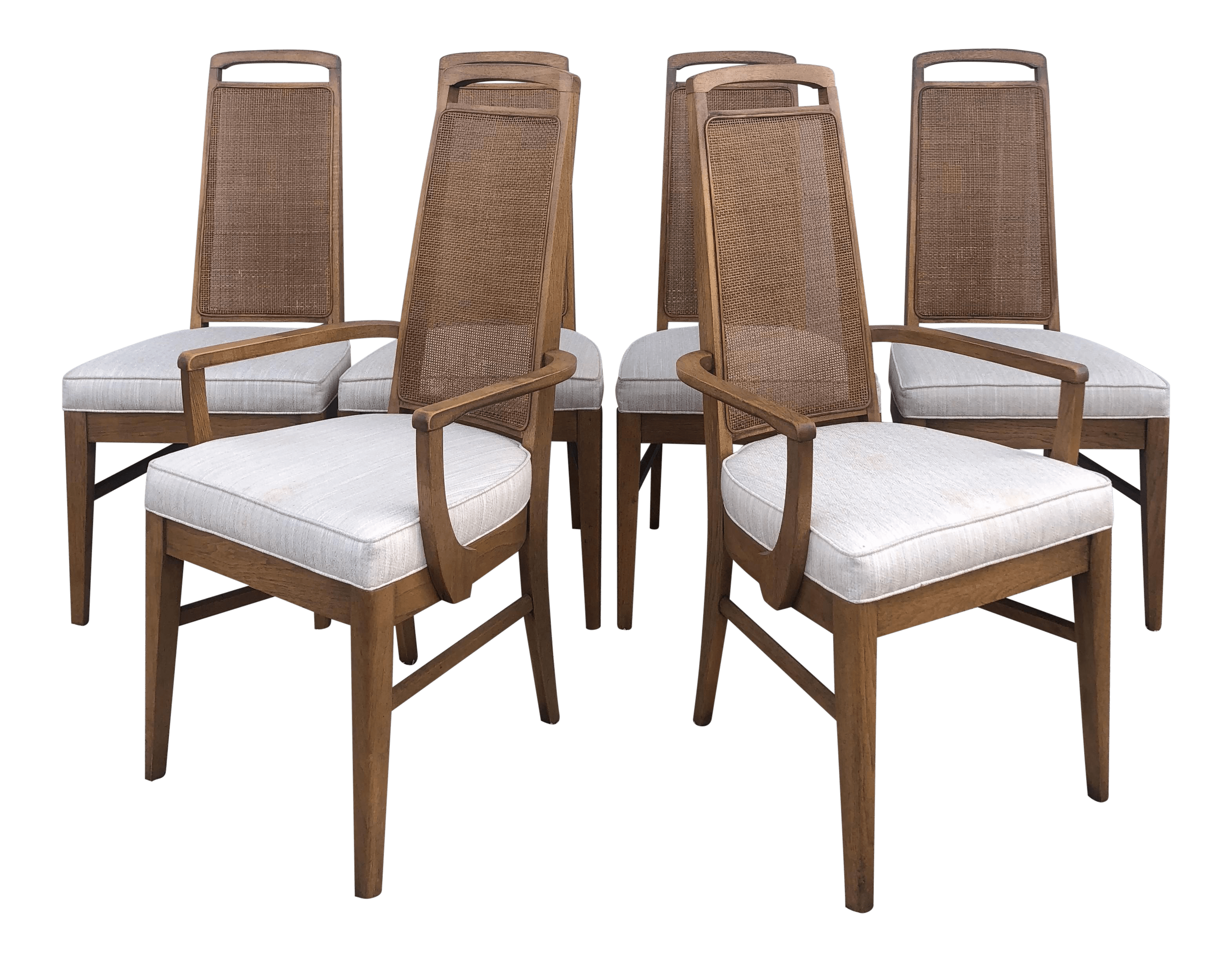 mid century set of 6 cane back dining chairs by broyhill