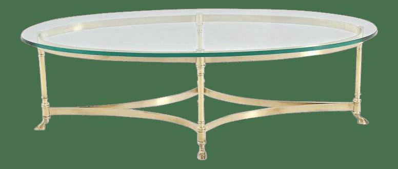 vintage mid century brass hoof feet oval coffee table