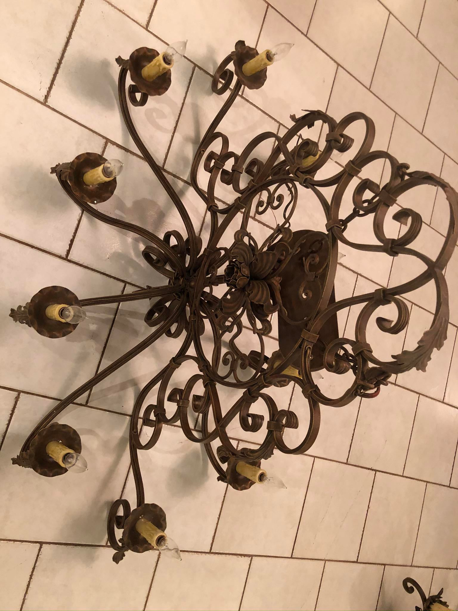 arte de mexico hand forged wrought iron island lighting fixture in weathered rust