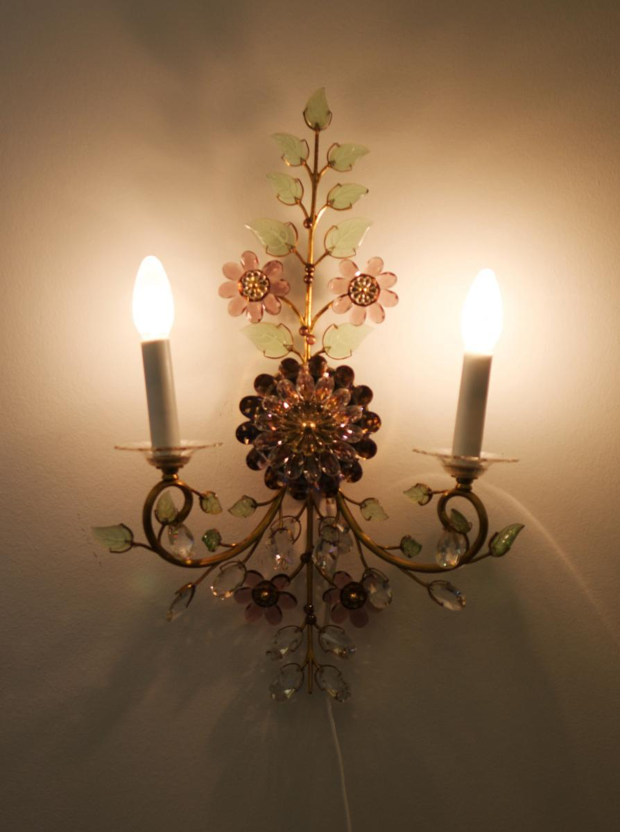 Exceptional Austrian vintage crystal flowers wall sconce ... on Wall Sconces With Flowers id=81211