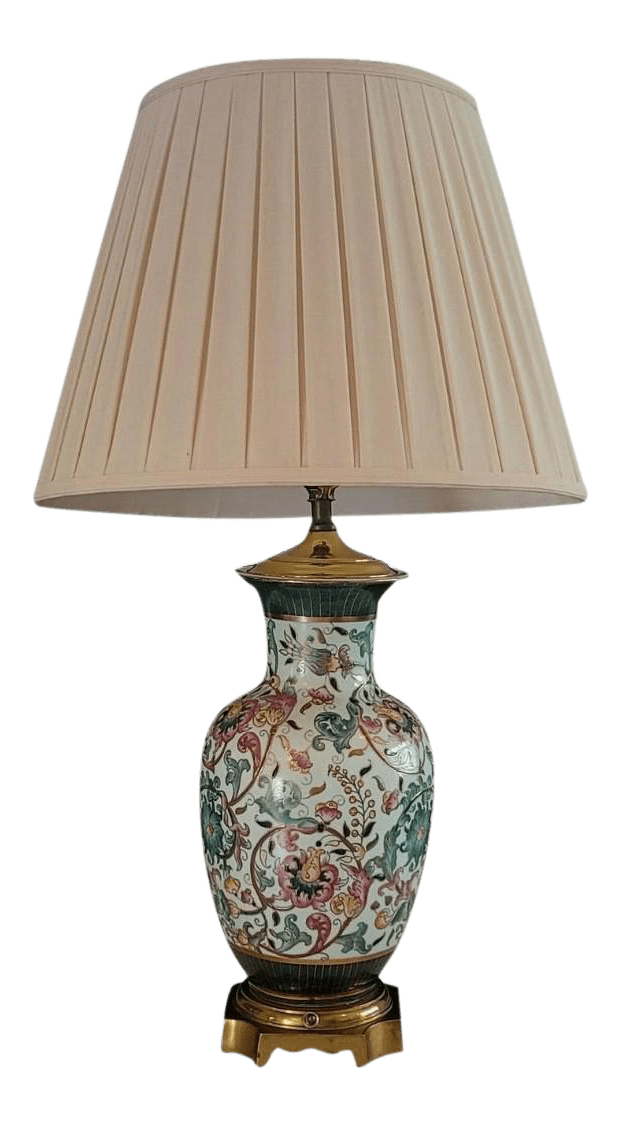 Vintage Asian Style Brass Base Table Lamp With Pleated Shade From Plaza Hotel Nyc Chairish