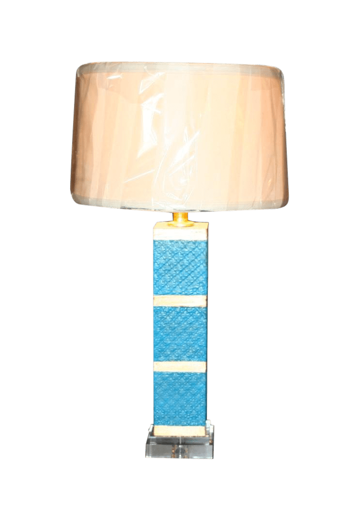 Contemporary Turquoise & Gold Accent Lamp | Chairish