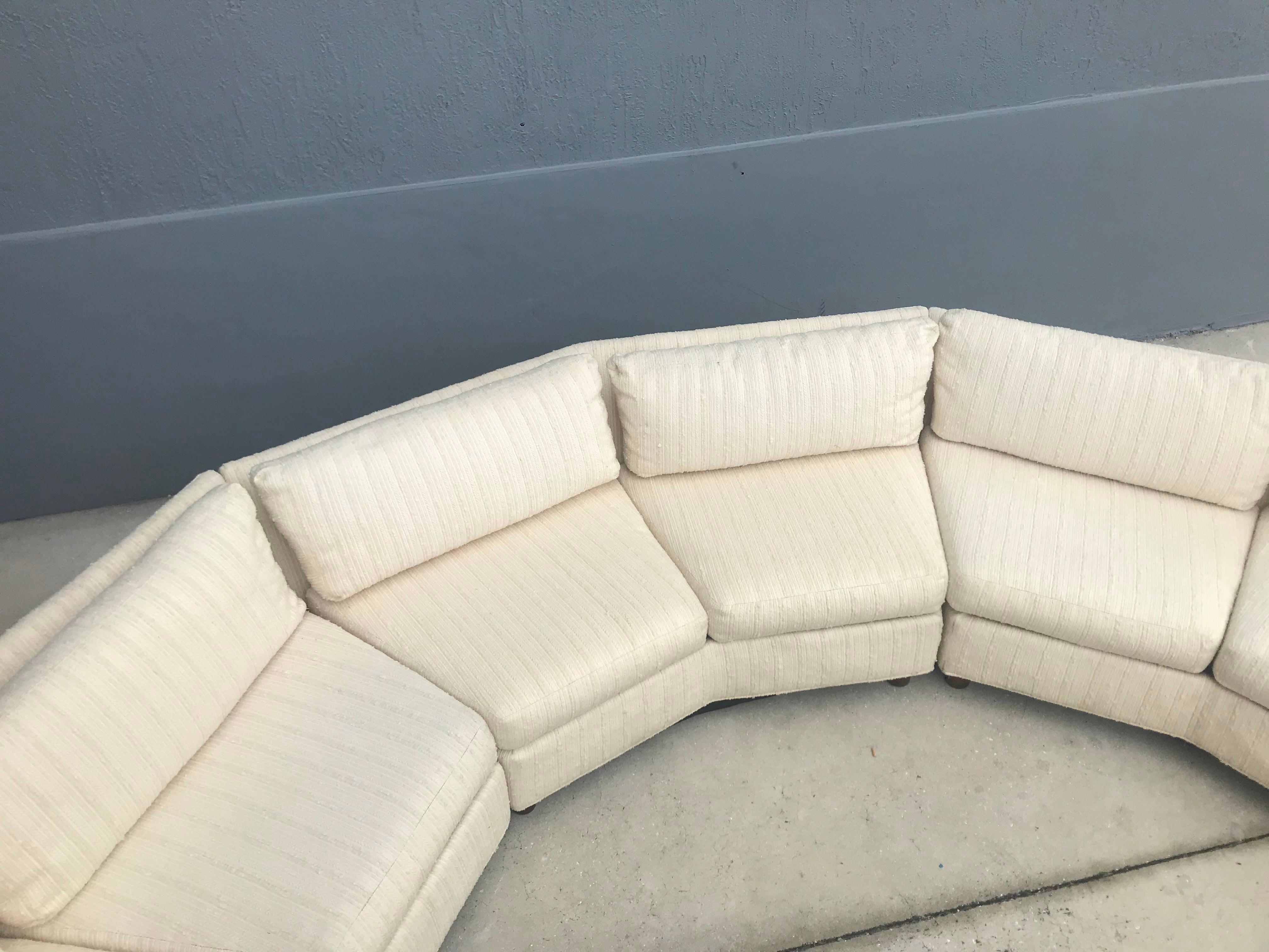 selig mid century modern semi circle sectional sofa