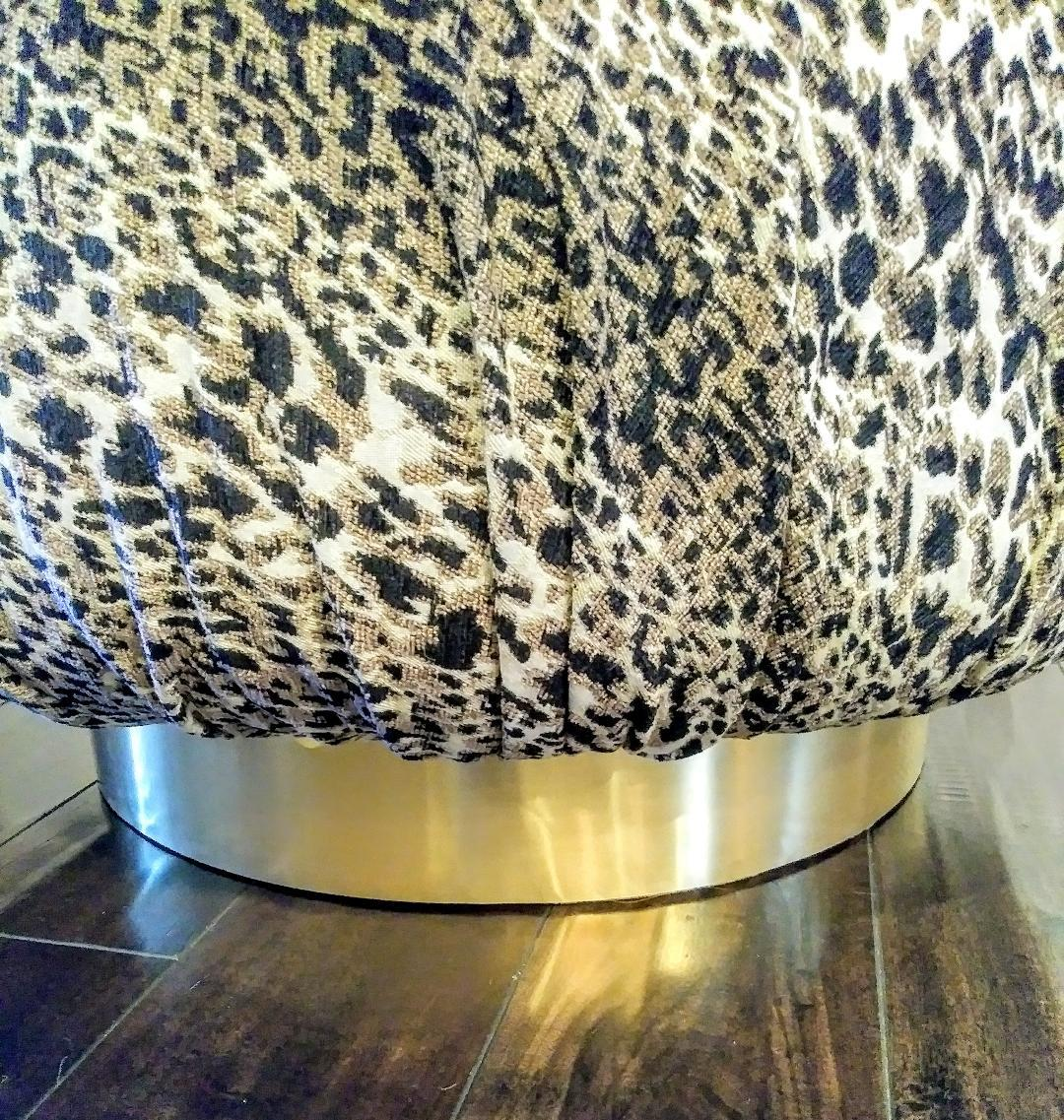 oversized karl springer marge carson style souffle plinth pouf huge round leopard ottoman