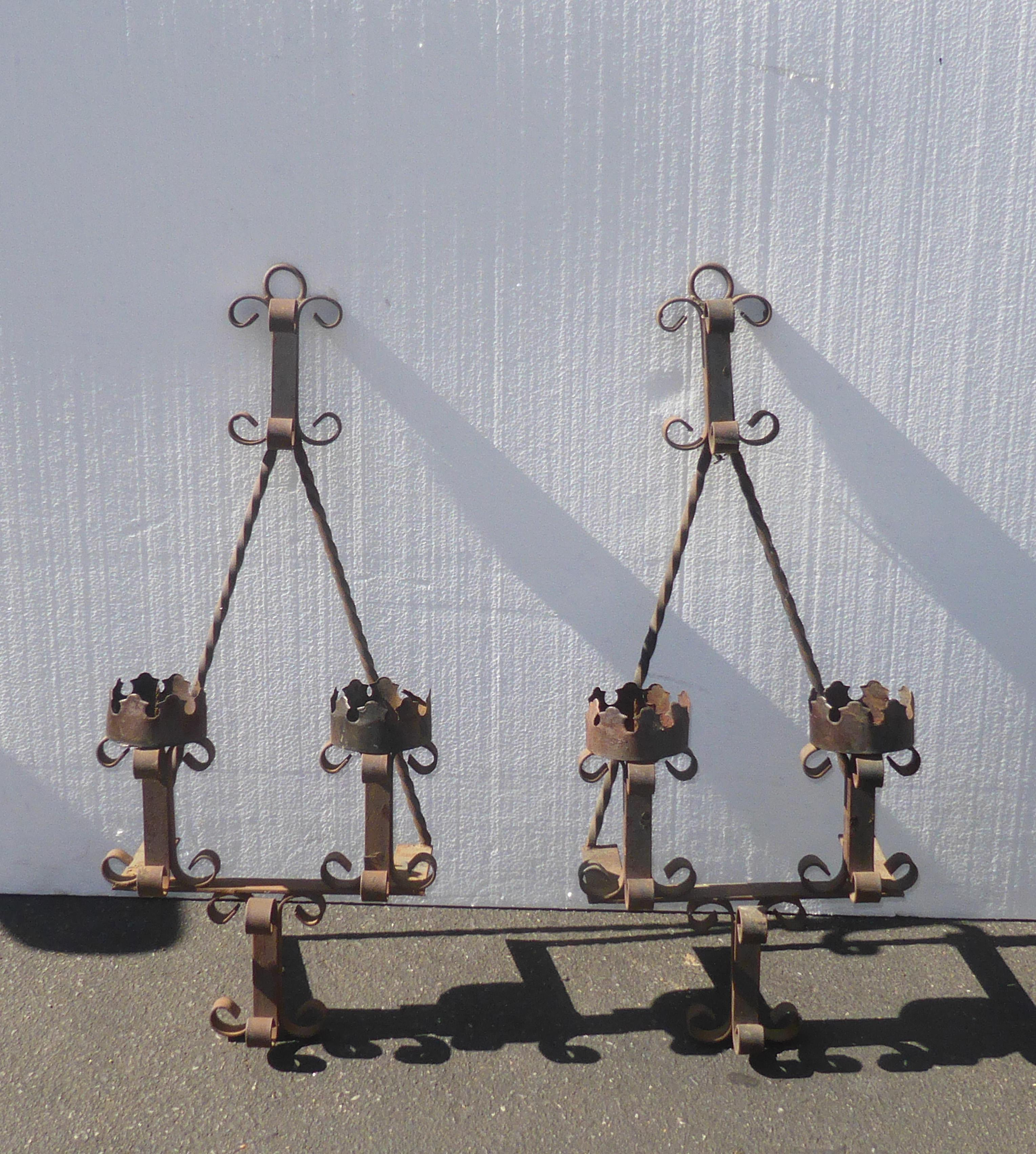 Pair of Vintage Rustic Spanish Style Wrought Iron Wall ... on Antique Wrought Iron Wall Candle Holders id=42696