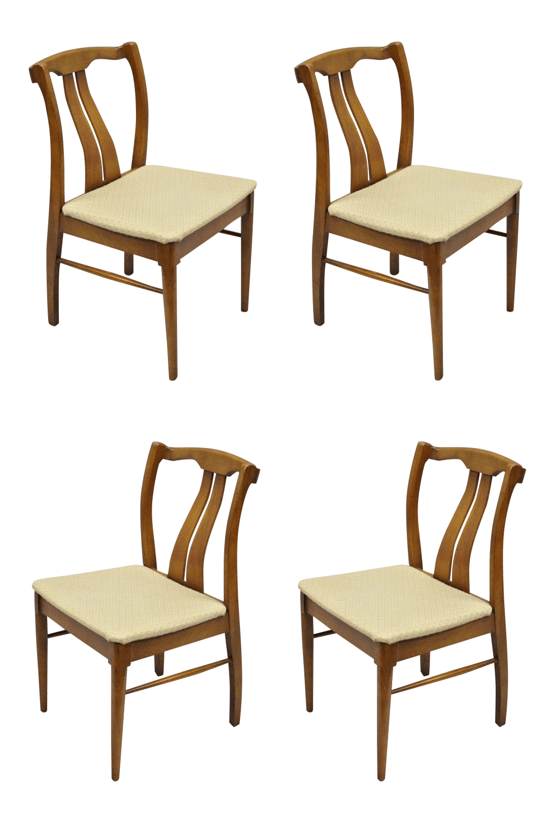 Vintage Mid Century Modern Curved Back Walnut Dining Chairs Set Of 4