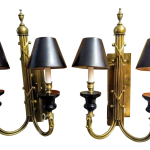 A Pair Vintage Solid Gold Brass And Black Double Arm Traditional Wall Sconce Wall Lamps Lights Chairish