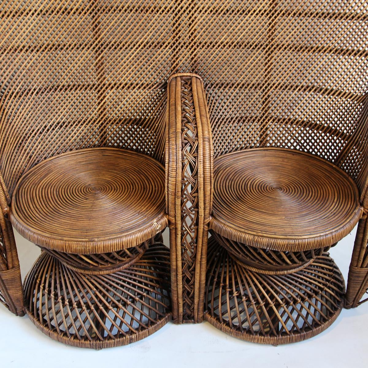 Double Plantation Peacock Chair   Chairish Double plantation style rattan peacock chair with a beautiful dark stained  finish  This unique chair