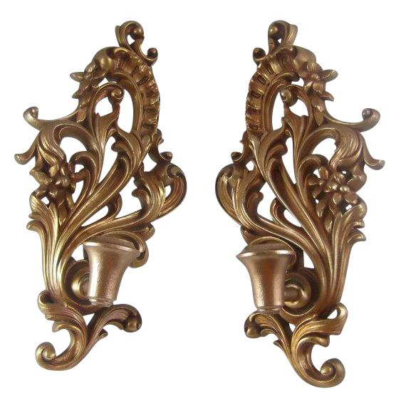 Wall Mount Gilt Wood Candle Sconce - A Pair | Chairish on Wall Mounted Candle Sconce id=53223