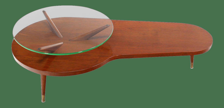 mid century modern walnut organic kidney shape coffee table with glass top