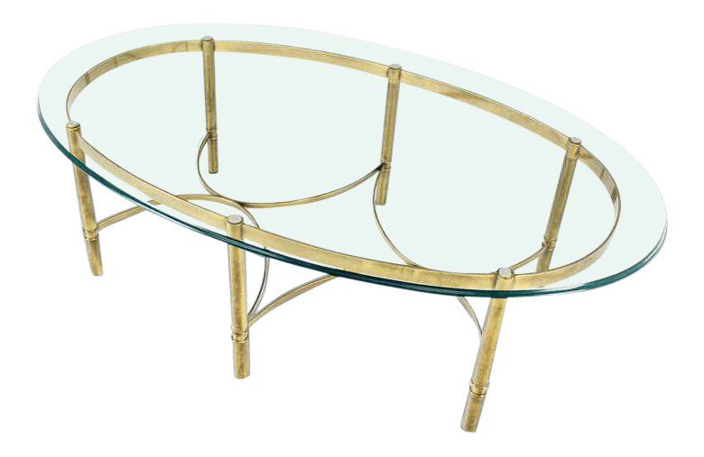 mid century modern brass and glass oval coffee table