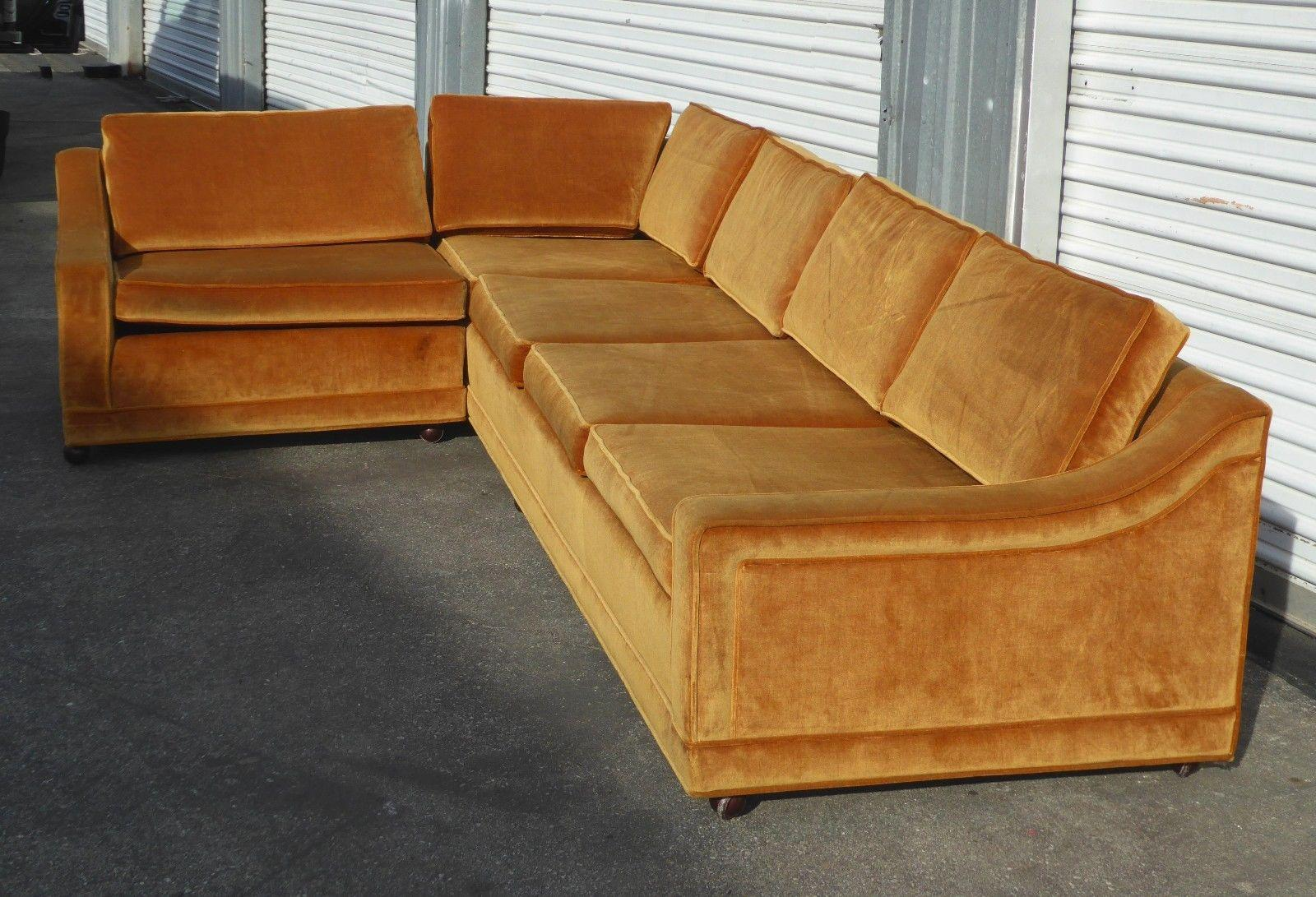 mid century modern orange velvet sectional sofa