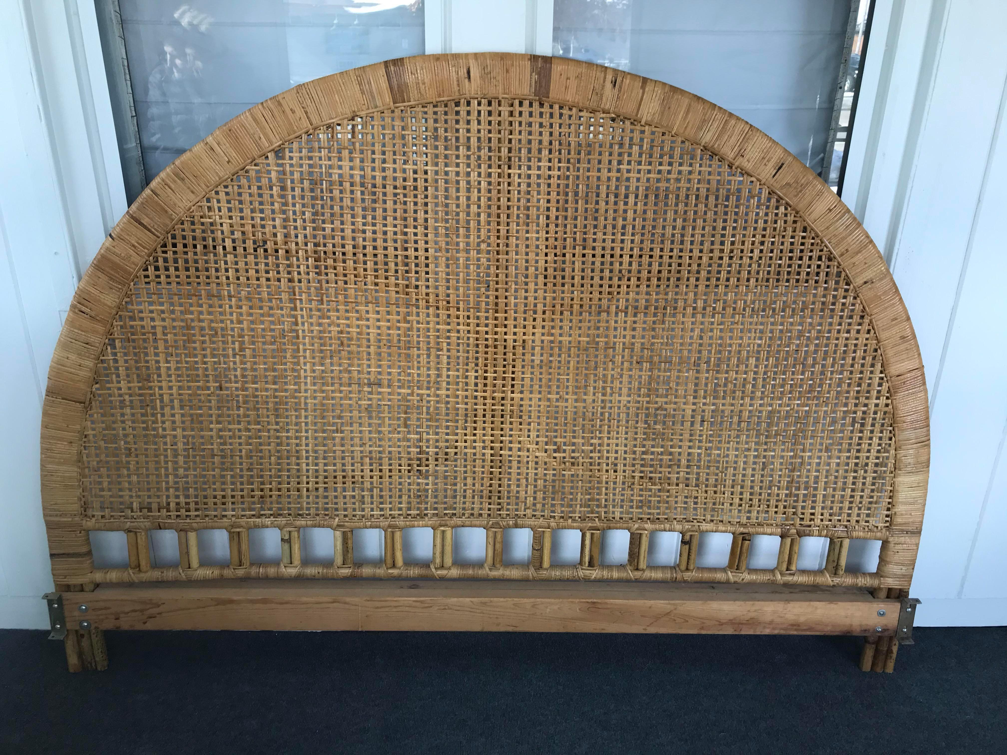 vintage mid century arched buri cane wicker rattan king headboard