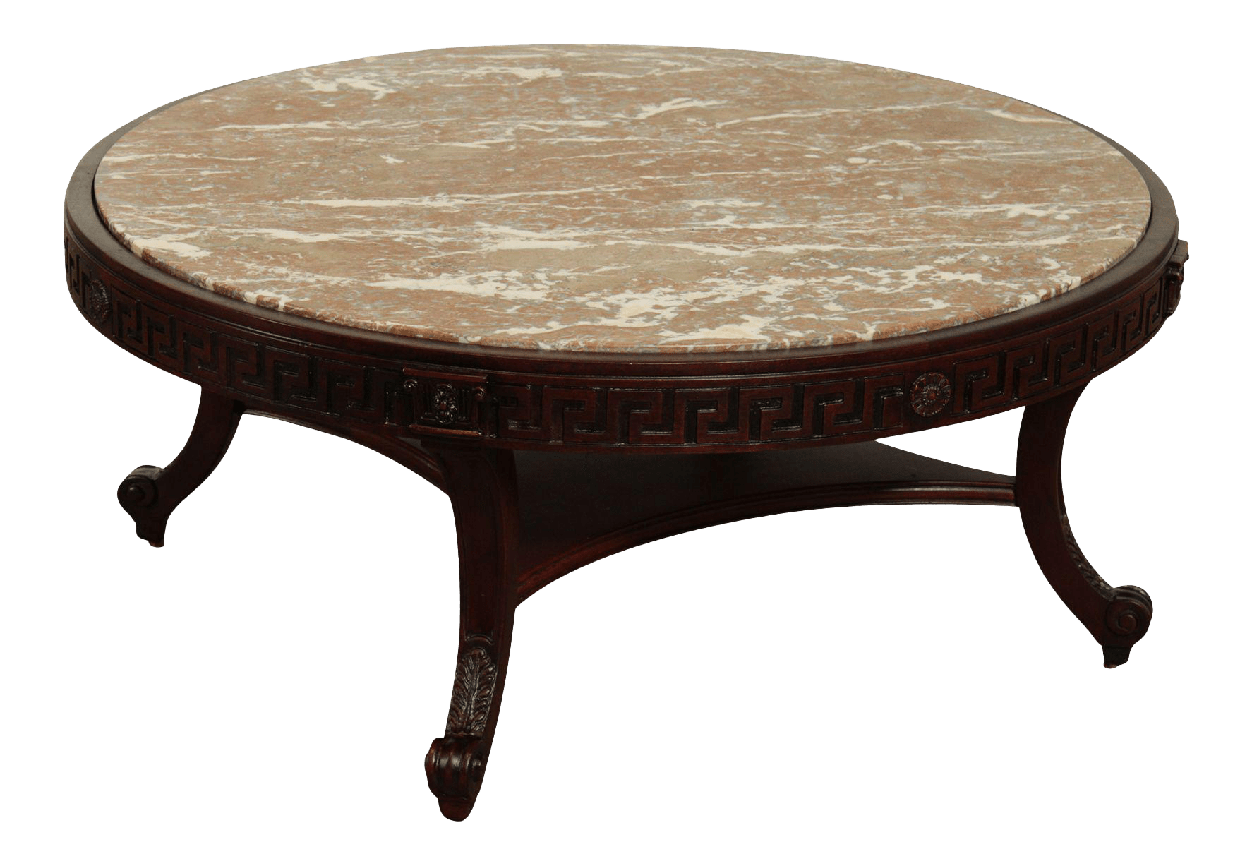 vintage greek revival neo classical style round marble top mahogany coffee table