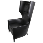 Stanley Friedman For Brueton Black Leather Wing Chair