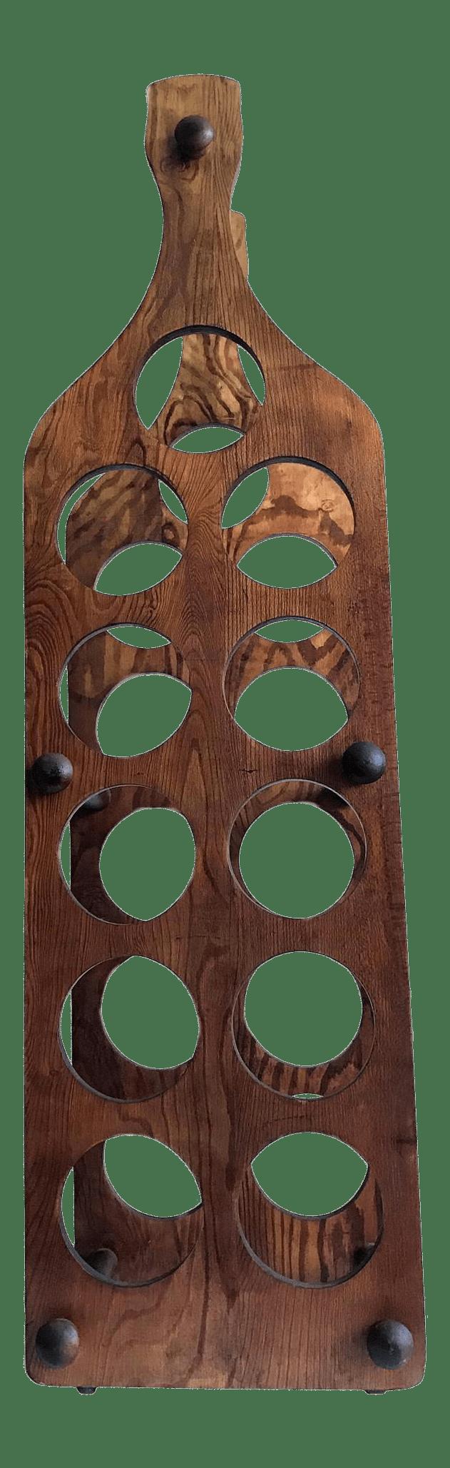 large mid century modernist wood wine bottle rack