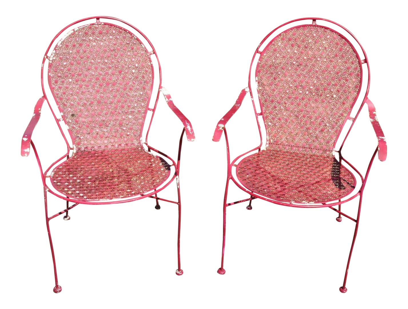 late 20th century wrought iron snowflake design red patio chairs a pair