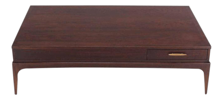 vintage mid century rectangle one drawer walnut coffee table