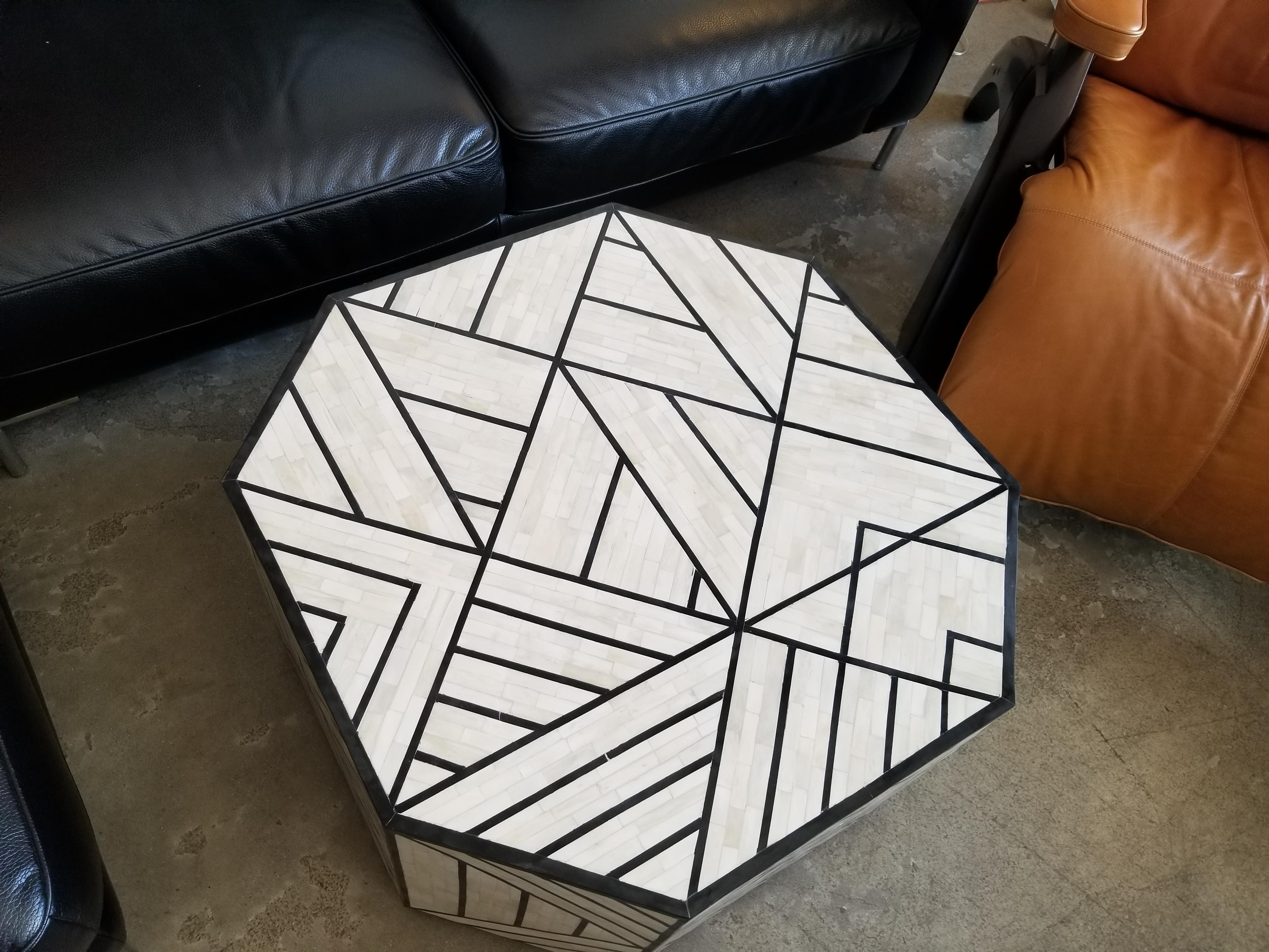 modern west elm octoganol coffee table in black white bone inlay