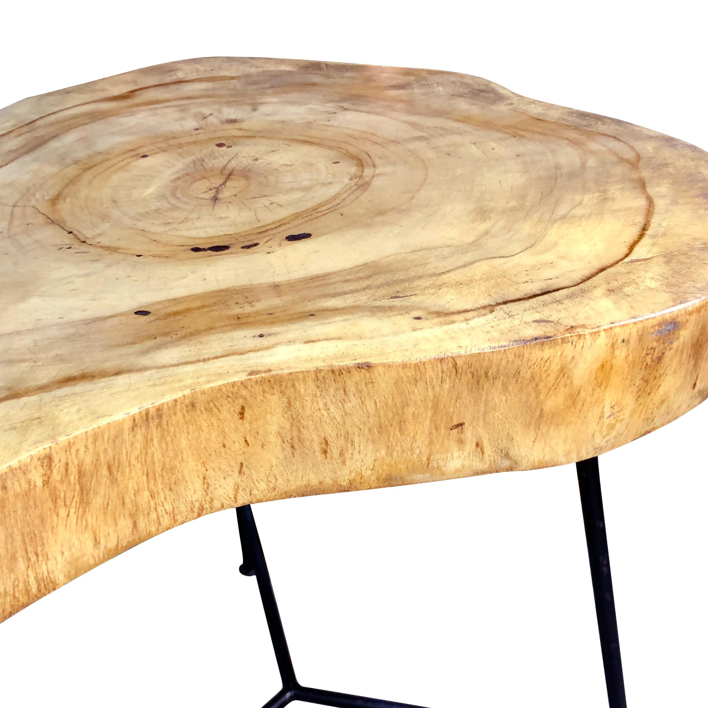 rustic live edge pine slab end table
