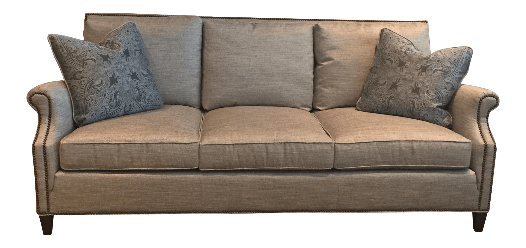 As a general rule, an odd number of pillows makes for the most natural, inviting arrangement: Huntington House Gray Sofa & Decorative Pillows   Chairish