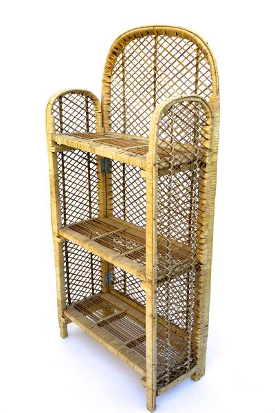 Vintage Woven Rattan Bamboo Freestanding Shelving Unit   Chairish Vintage Boho Woven Rattan Wicker Bookshelf    Versatile 42  Freestanding Collapsible  Shelving Storage
