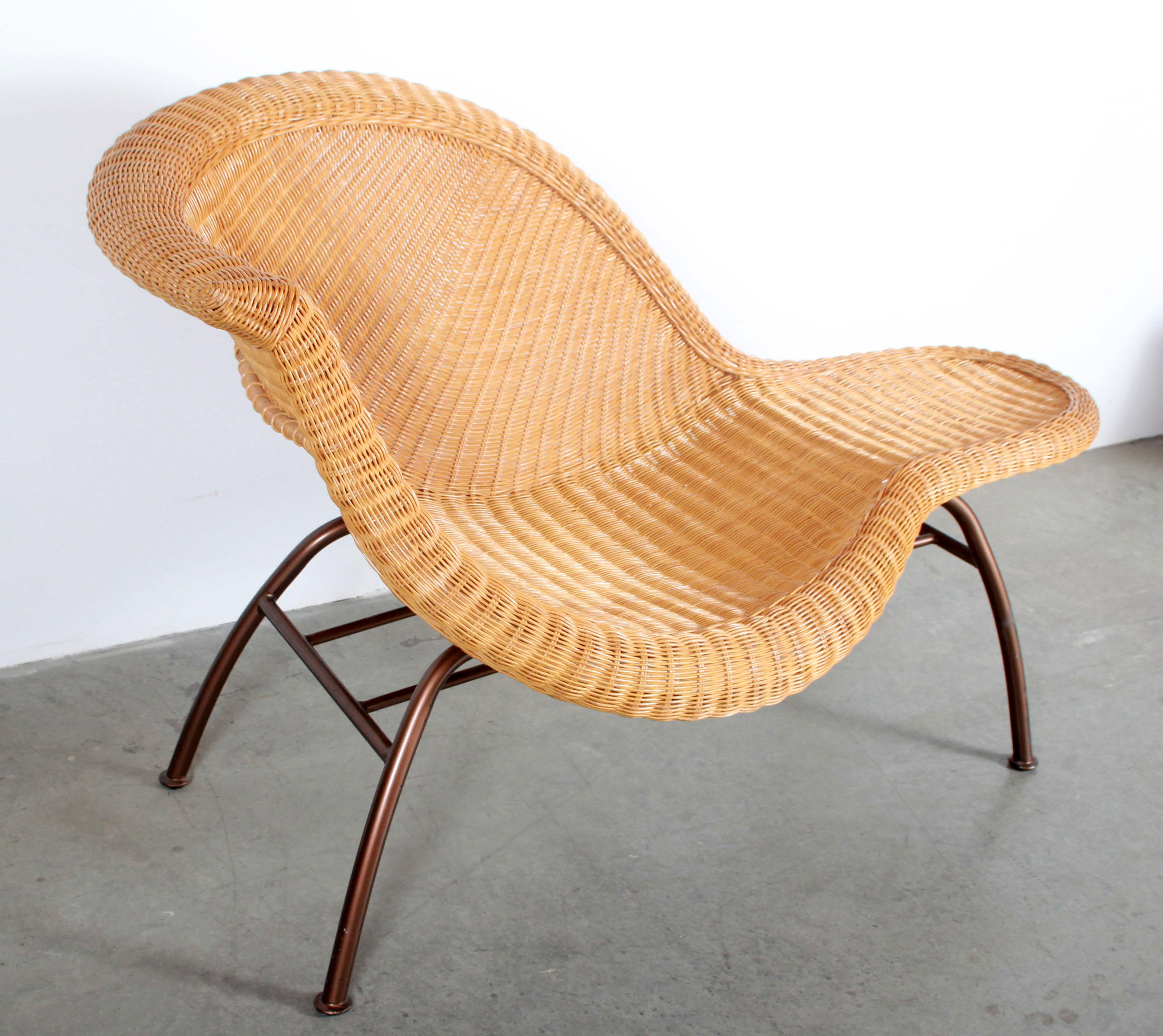 vintage mid century modern wicker chaise lounge after eames la chaise