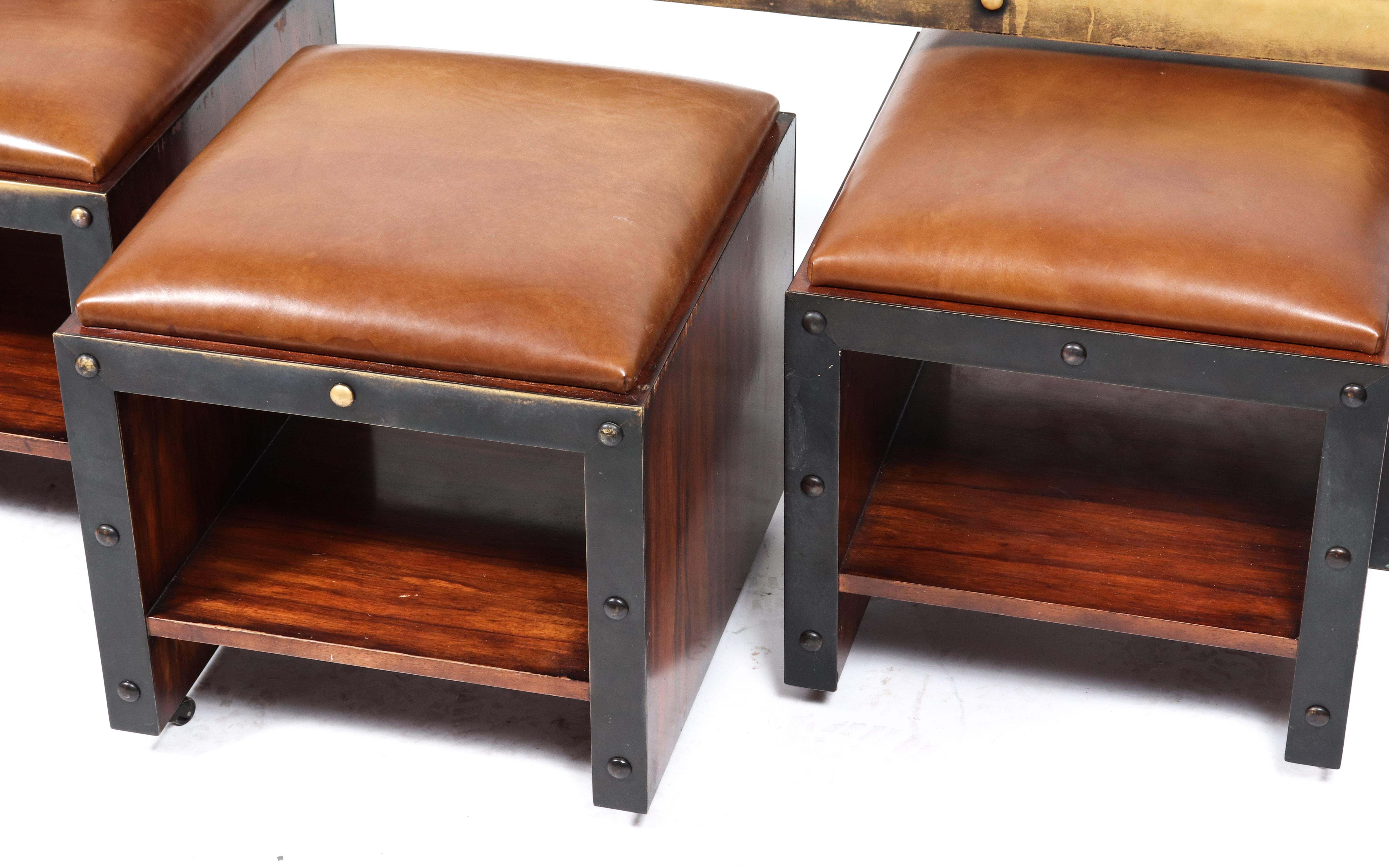 timothy oulton set with industrial table ottoman stools set of 4