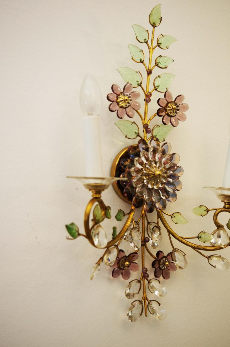 Exceptional Austrian vintage crystal flowers wall sconce ... on Wall Sconces With Flowers id=81540