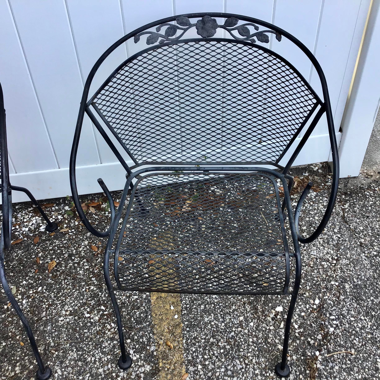 vintage wrought iron barrel back garden patio dining arm chair