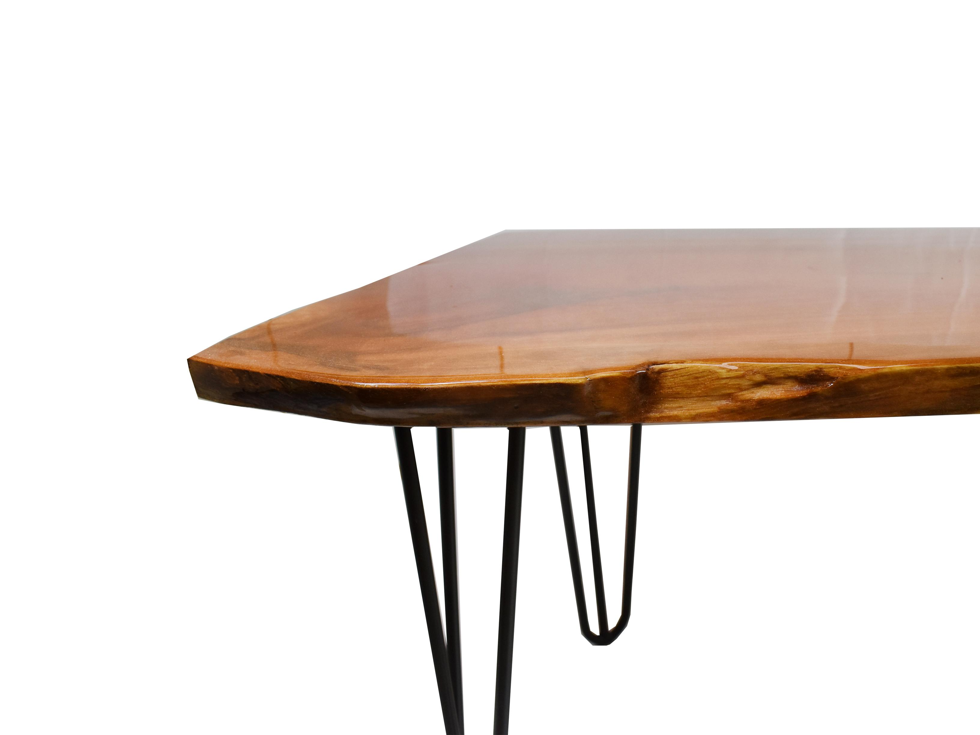 modern natural free live edge slab coffee table with hairpin legs